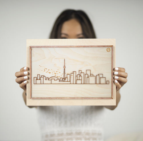 Laser-cut Toronto or New York Skyline - Mounted on woodblock - Decorative Wall Art