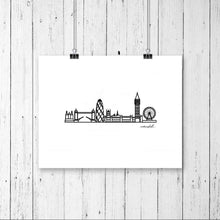 "Load image into Gallery viewer, Minimalist City Skyline Prints - Digital Print 8""x10"" Mounted on 11""x14"" Mat Board - Travel themed gift ideas for your home decor"