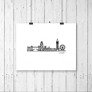 "Minimalist City Skyline Prints - Digital Print 8""x10"" Mounted on 11""x14"" Mat Board - Travel themed gift ideas for your home decor"