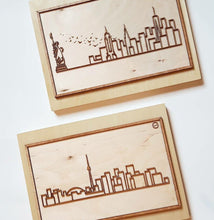 Load image into Gallery viewer, Laser-cut Toronto or New York Skyline - Mounted on woodblock - Decorative Wall Art