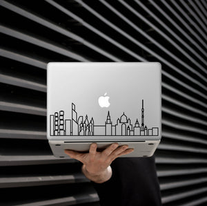 Customizable Skyline Art Decal - Decorative sticker for MacBook / laptop / wall / door / window