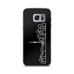 Phone Case Samsung Galaxy S7 Ed - Black Cover with White Skyline