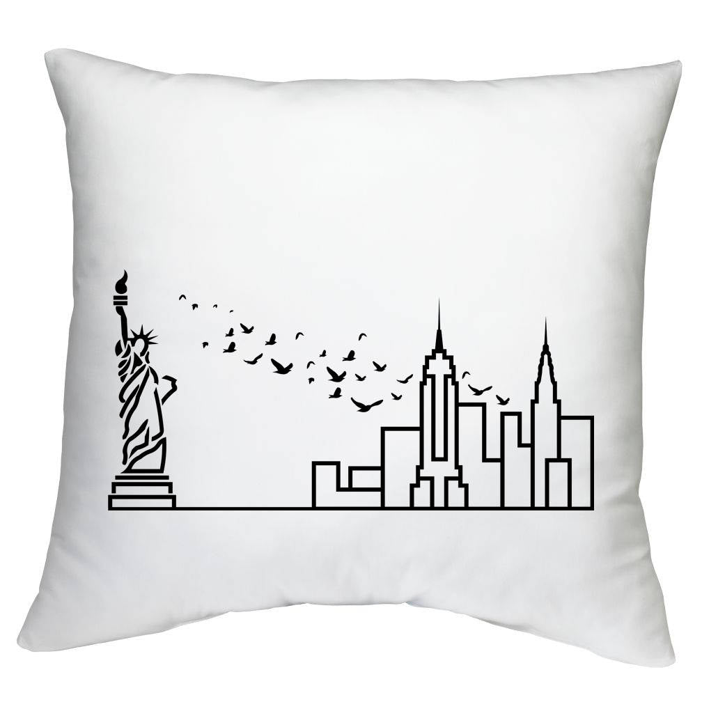 Cushion Case with City Skyline Graphic - White 18
