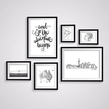 Load image into Gallery viewer, Typography Prints - Travel Quotes - Adventure Begins - Unframed digital graphic