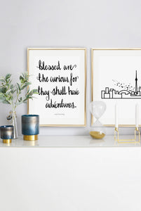 Typography Prints - Travel Quotes - Blessed - Unframed digital graphic