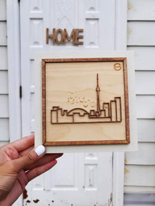 "Laser-cut Toronto - Mounted on woodblock - Decorative Wall Art - Small 6""x6"""