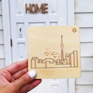 Laser-etch Skyline Coasters - Set of 4