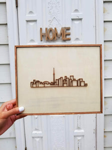 Laser-cut Toronto Skyline - Mounted on woodblock - Decorative Wall Art