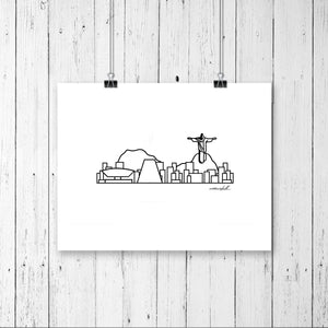 "Skyline Prints - South America - Unframed digital graphic - 8""x10"""