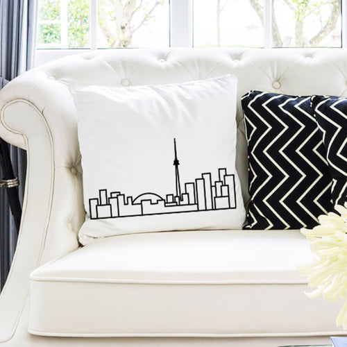 City Skyline Cushions - White - Travel Home Decor