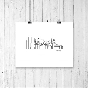 "Skyline Prints - Europe - Unframed digital graphic - 8""x10"""