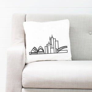 "Cushion Case with City Skyline Graphic - White 18""x18"" - Travel Home Decor (Insert not included)"