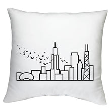 "Load image into Gallery viewer, Cushion Case with City Skyline Graphic - White 18""x18"" - Travel Home Decor (Insert not included)"