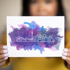 "Watercolour City Skyline Postcard - 5""x7"" - Travel Gift and Mementos"