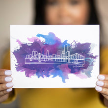 "Load image into Gallery viewer, Watercolour City Skyline Postcard - 5""x7"" - Travel Gift and Mementos"