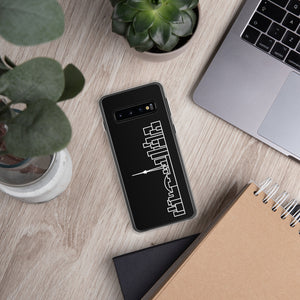 Phone Case Samsung Galaxy S9, S10, S20 Black Cover with White Skyline