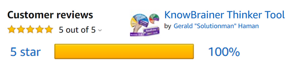 KnowBrainer 100% 5 Star Amazon Reviews