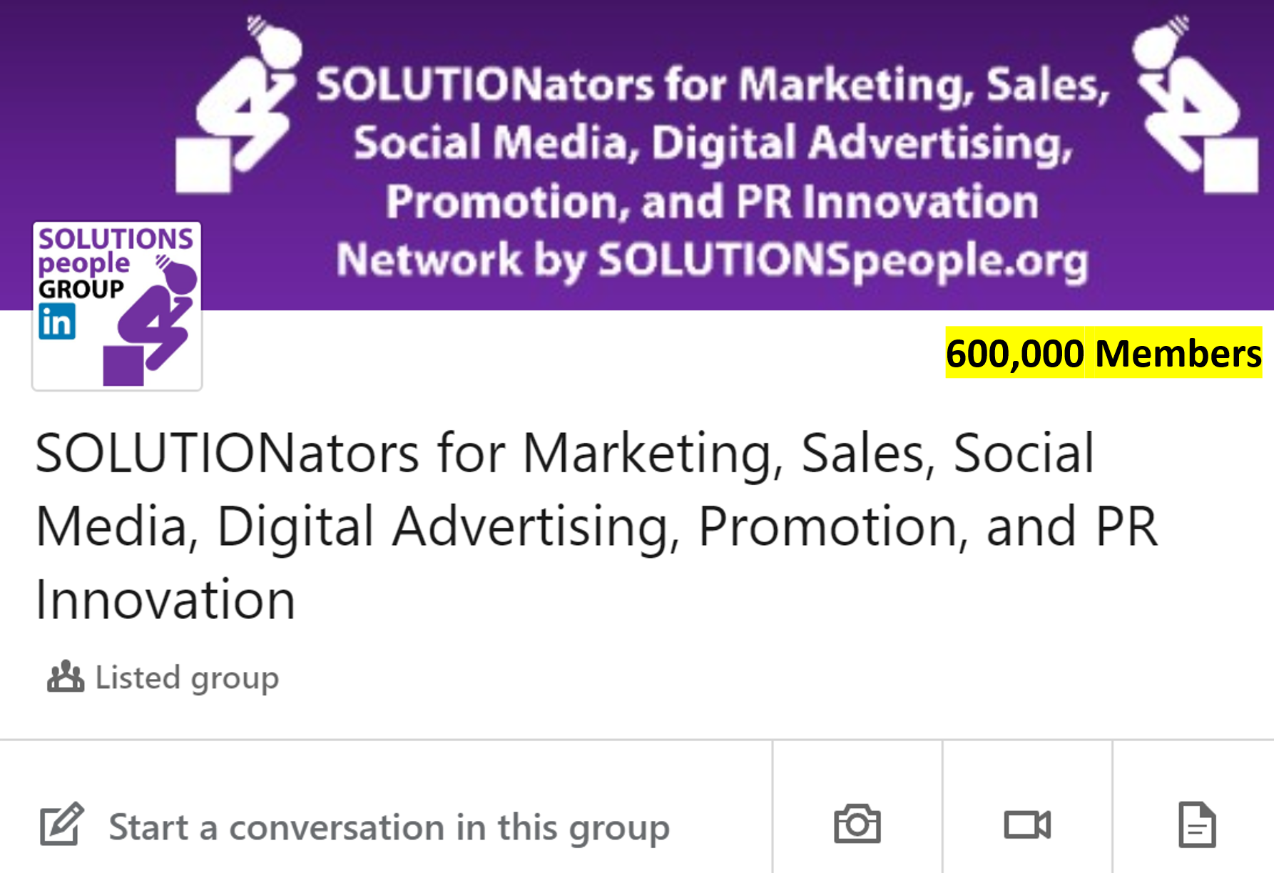 SOLUTIONators Linkedin Group for Marketing, Sales, Social Media, Digital Advertising, Promotion and PR Innovation