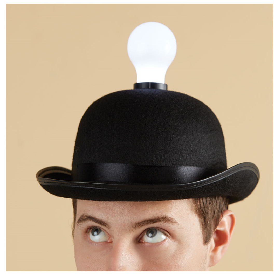 Lightbulb Bowler Hat that Lights Up a Room! - SOLUTIONSpeopleSTORE