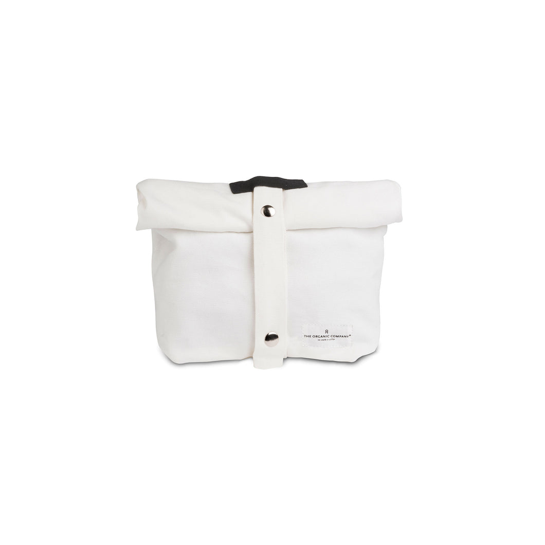 Luxury ethical organic cotton lunch bag for adults and kids. White