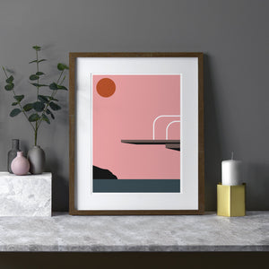 Keeler & Sidaway Art Print - Stylish Modern Illustration Contemporary Wall Art & Graphic Art Prints. High Dive