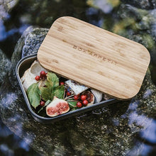 Load image into Gallery viewer, Stainless steel lunch boxes with bamboo lid chopping board. Eco friendly and reusable.