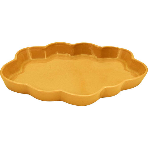 Ceramic Cloud Tray, handmade using traditional methods by Vietnamese artisans. Mustard