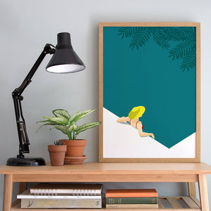 Keeler & Sidaway Art Print - Stylish Modern Illustration Contemporary Wall Art & Graphic Art Prints. Tropical Bathing