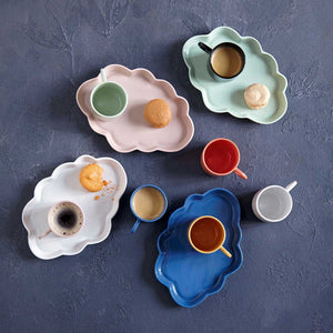Ceramic Cloud Tray, handmade using traditional methods by Vietnamese artisans.