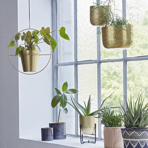 Hanging Brass Planter with Ring - Plant Pot Stand