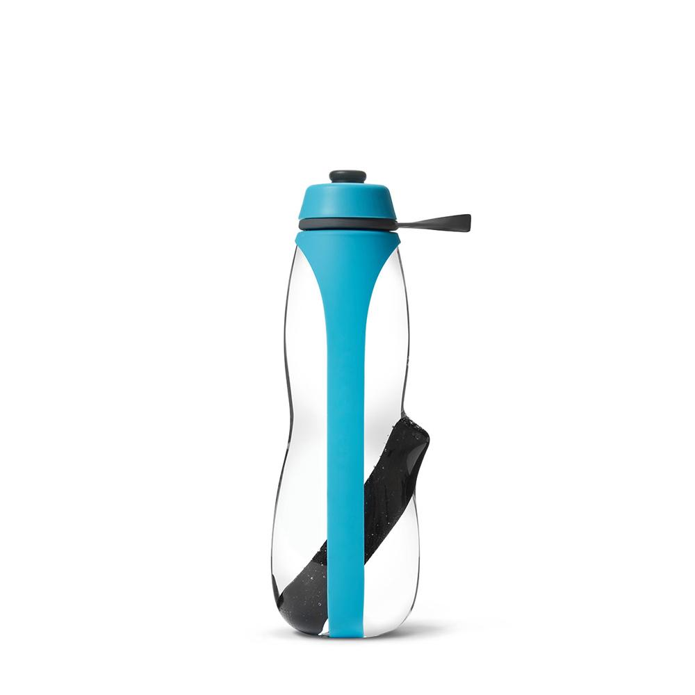 Eau Good Duo Water Bottle, with charcol filter and infuser. Reusable, BPA free and eco friendly water bottle. Blue