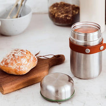 Load image into Gallery viewer, Hot and cold food flask. Stainless steel, vacuum insulated leak proof flask for soup. Reusable, travel and eco friendly.