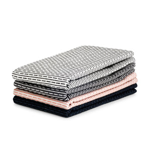 Luxury organic cotton cloth, for use as kitchen towel, face cloth, wash cloth or hand towel. Dark Blue, Morning Grey, Evening Grey, Stone Rose Pink