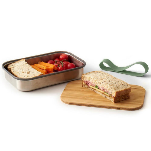 Stainless steel lunch boxes with bamboo lid chopping board. Eco friendly and reusable.