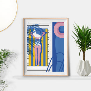 Keeler & Sidaway Art Print - Stylish Modern Illustration Contemporary Wall Art & Graphic Art Prints. Sunbathing