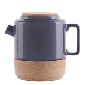 Contemporary, handmade teapots, made of ceramic pottery and sustainble cork. Cream and Storm Grey