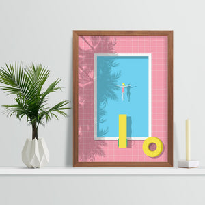 Keeler & Sidaway Art Print - Stylish Modern Illustration Contemporary Wall Art & Graphic Art Prints. The Pool