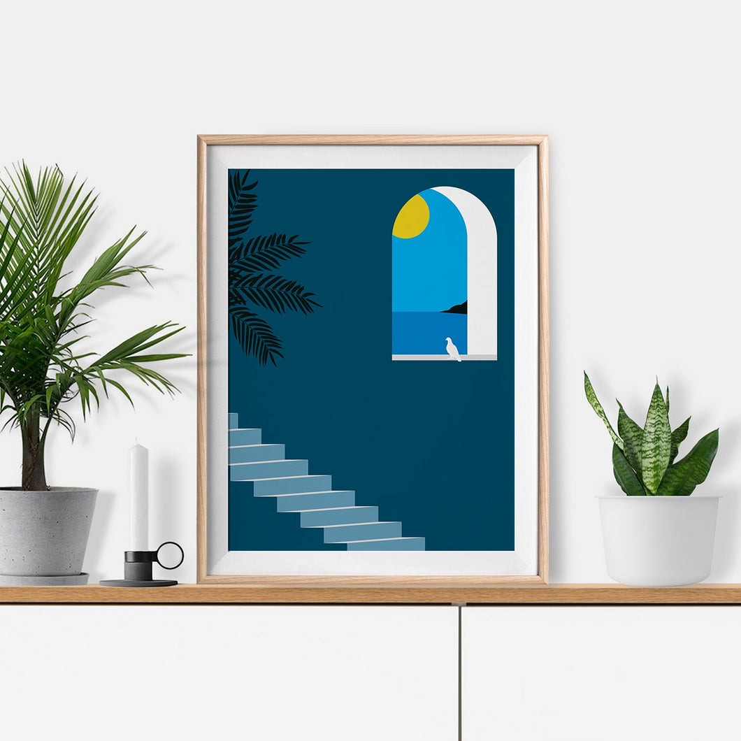 Keeler & Sidaway Art Print - Stylish Modern Illustration Contemporary Wall Art & Graphic Art Prints. Through The Window