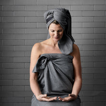 Load image into Gallery viewer, Luxury organic cotton towel, sustainable sarong wrap and beach cover up. Evening Grey