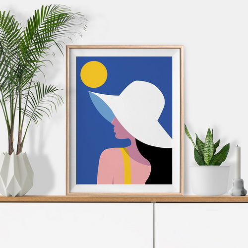 Keeler & Sidaway Art Print - Stylish Modern Illustration Contemporary Wall Art & Graphic Art Prints. Summer Hat