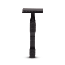 Load image into Gallery viewer, Saftey razors, solid brass and designed to last a lifetime. Plastic free, reusable and recyclable blades. Black