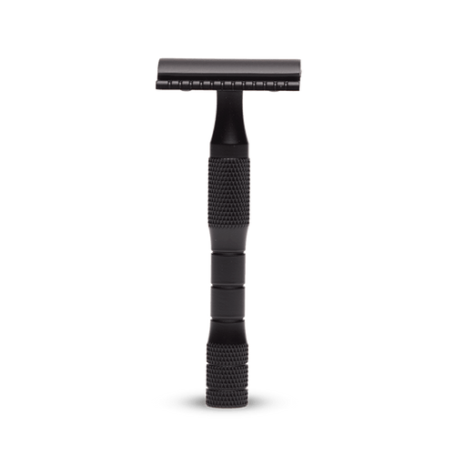 Saftey razors, solid brass and designed to last a lifetime. Plastic free, reusable and recyclable blades. Black
