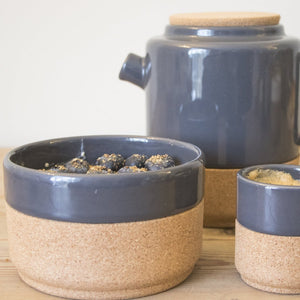 Contemporary, designer soup, breakfast bowls, made by hand using eco friendly cork and ceramic pottery. Grey