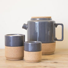 Load image into Gallery viewer, Contemporary, handmade teapots, made of ceramic pottery and sustainble cork. Cream and Storm Grey