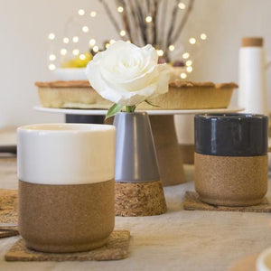 Contemporary design, modern decorative tea and coffe mugs. Eco friendly tea and handmade. Cream