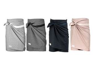 Luxury organic cotton towel, sustainable sarong wrap and beach cover up. dark blue, stone rose pink, evening grey, morning grey