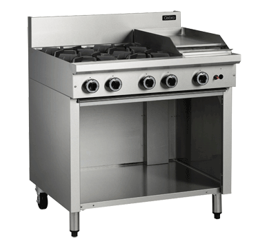 Blue Seal Cobra Cooktop 4 Open Burners/1 Griddle Gas Cabinet Base 900mm C9C