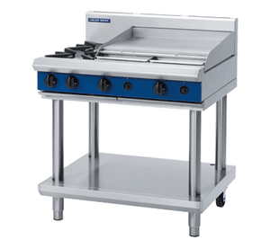 Blue Seal Evolution Cooktop 2 Open/1 Griddle Burner Gas on Stand 900mm G516B-LS