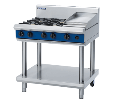 Blue Seal Evolution Cooktop 4 Open/1 Griddle Burner Gas on Stand 900mm G516C-LS