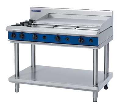 Blue Seal Evolution Cooktop 2 Open/1 Griddle Burner Gas on Stand 1200mm G518A-LS